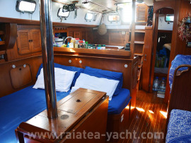 Saloon settee turned into a large double berth